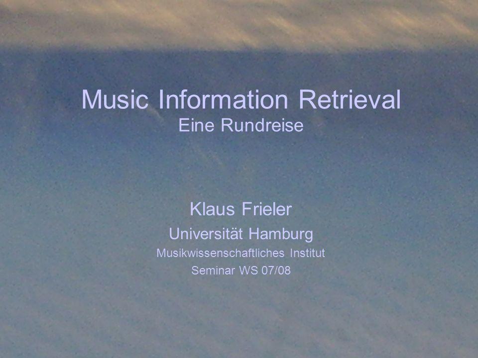 MIR: Eine Rundreise Einleitung Sehr früh nach Erfindung des Computers wurden diese auch für musikalische Zwecke eingesetzt Man kann zwei große Bereiche unterscheiden: Musikproduktion und Musikanalyse Uns interessiert die Musikanalyse im weitesten Sinne und darunter der Bereich des Music Information Retrievals