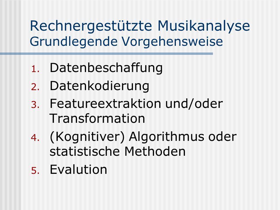 Rechnergestützte Musikanalyse Grundlegende Vorgehensweise 1.