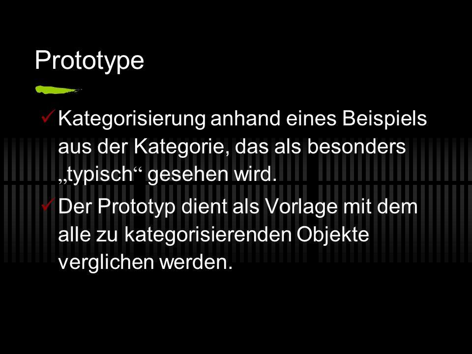 Prototype Kategorisierung anhand eines Beispiels aus der Kategorie, das als besonders typisch gesehen wird. Der Prototyp dient als Vorlage mit dem all
