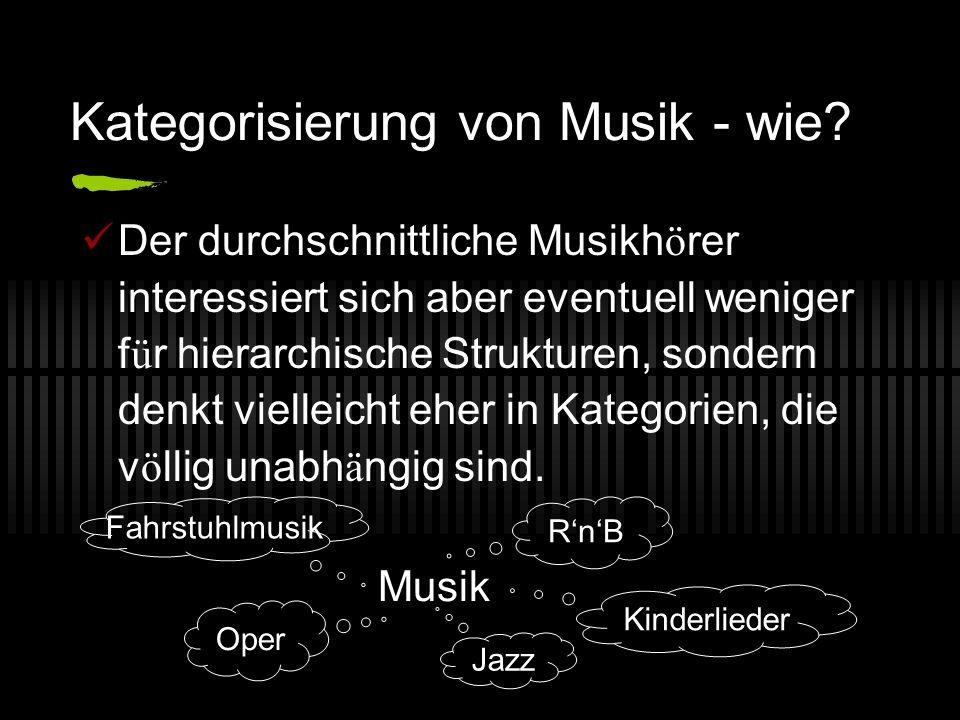 Kategorisierung von Musik - wie? Der durchschnittliche Musikh ö rer interessiert sich aber eventuell weniger f ü r hierarchische Strukturen, sondern d