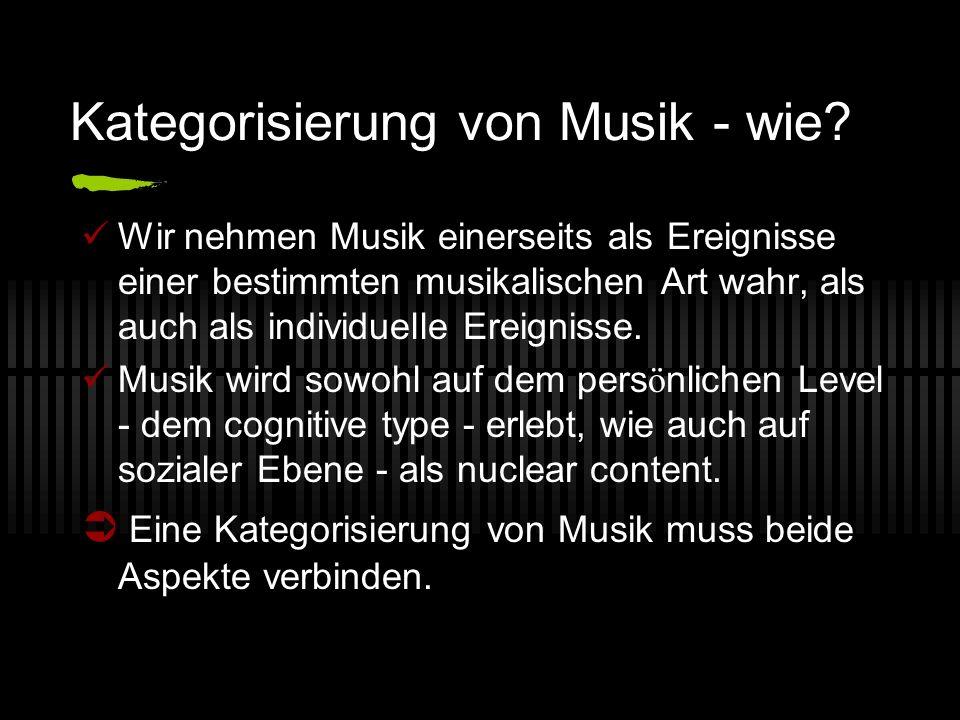 Kategorisierung von Musik - wie? Wir nehmen Musik einerseits als Ereignisse einer bestimmten musikalischen Art wahr, als auch als individuelle Ereigni