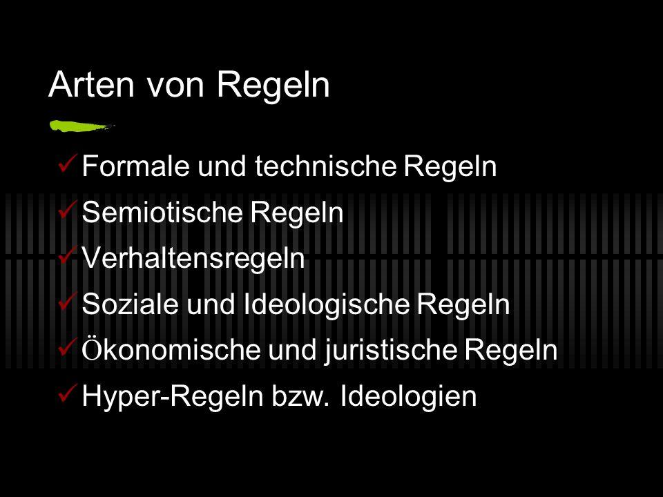 Arten von Regeln Formale und technische Regeln Semiotische Regeln Verhaltensregeln Soziale und Ideologische Regeln Ö konomische und juristische Regeln Hyper-Regeln bzw.