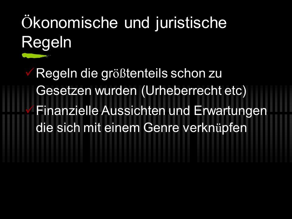 Ö konomische und juristische Regeln Regeln die gr öß tenteils schon zu Gesetzen wurden (Urheberrecht etc) Finanzielle Aussichten und Erwartungen die s