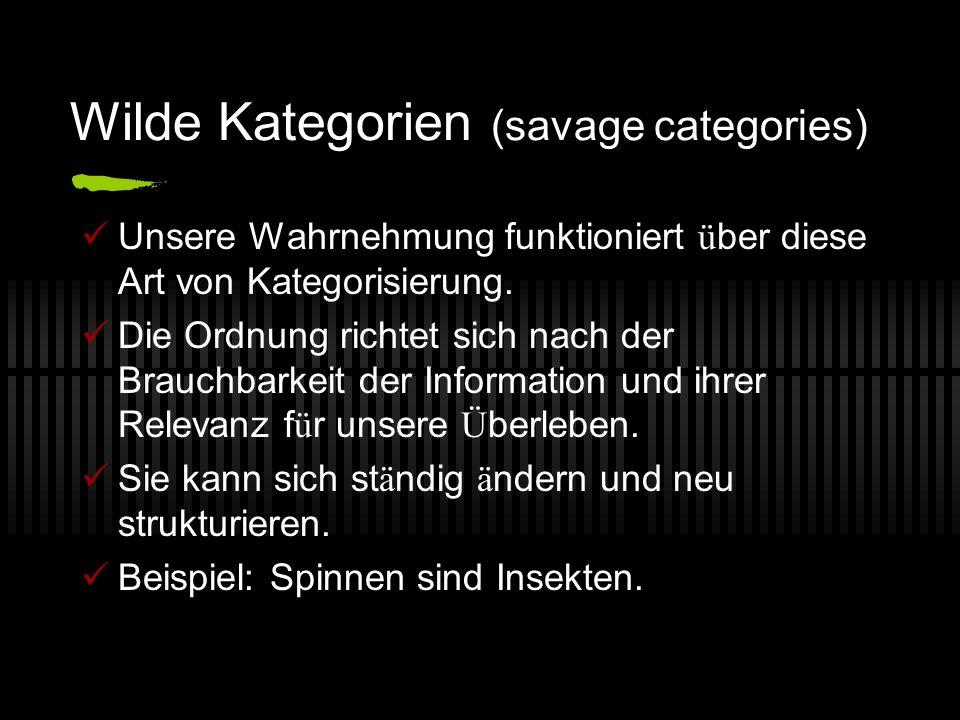 Wilde Kategorien (savage categories) Unsere Wahrnehmung funktioniert ü ber diese Art von Kategorisierung.