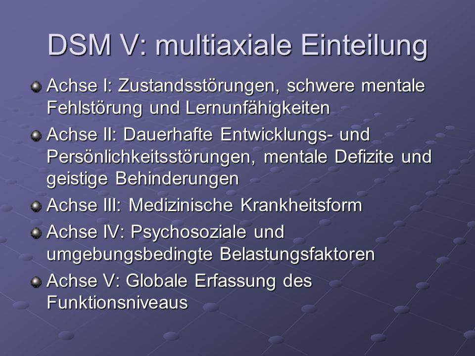 DSM V: multiaxiale Einteilung Achse I: Zustandsstörungen, schwere mentale Fehlstörung und Lernunfähigkeiten Achse II: Dauerhafte Entwicklungs- und Per