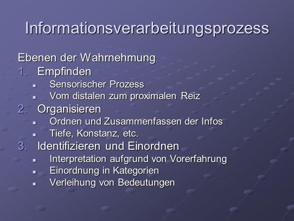 Informationsverarbeitungsprozess Ebenen der Wahrnehmung 1.Empfinden Sensorischer Prozess Sensorischer Prozess Vom distalen zum proximalen Reiz Vom dis