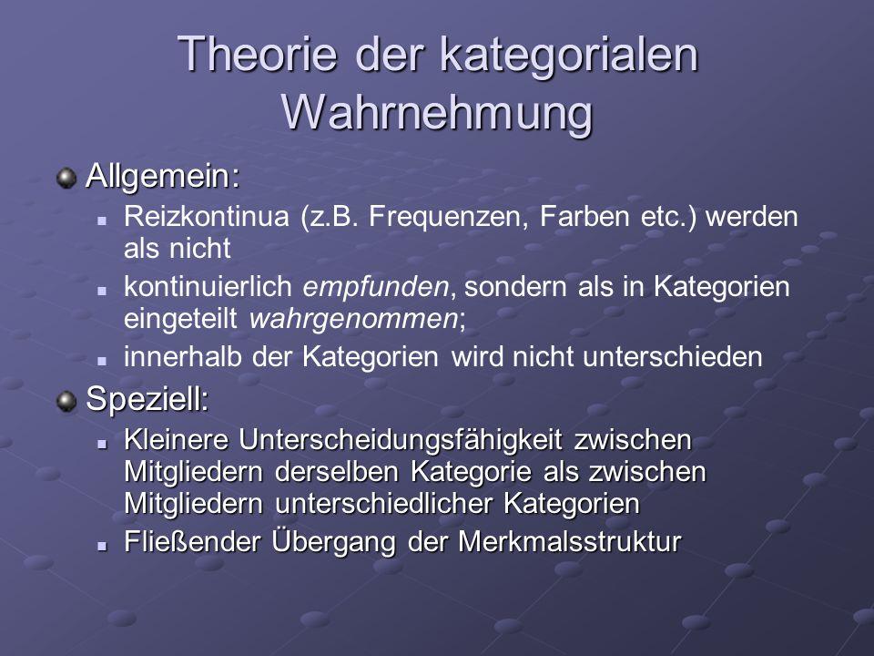 Theorie der kategorialen Wahrnehmung Allgemein: Reizkontinua (z.B. Frequenzen, Farben etc.) werden als nicht kontinuierlich empfunden, sondern als in