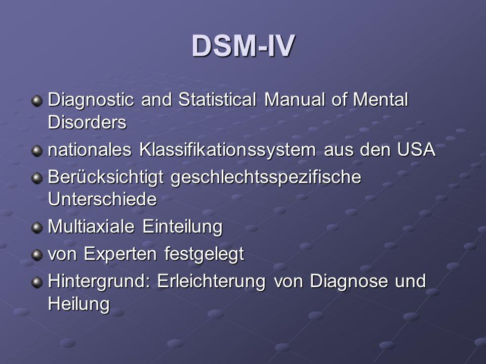 DSM-IV Diagnostic and Statistical Manual of Mental Disorders nationales Klassifikationssystem aus den USA Berücksichtigt geschlechtsspezifische Unters