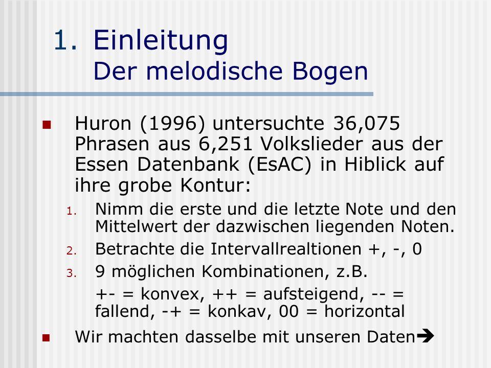 1.Einleitung Der melodische Bogen Huron (1996) untersuchte 36,075 Phrasen aus 6,251 Volkslieder aus der Essen Datenbank (EsAC) in Hiblick auf ihre gro