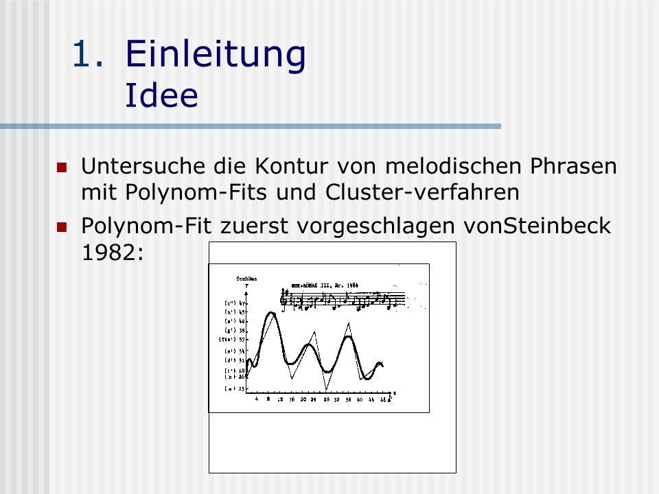 1.Einleitung Idee Untersuche die Kontur von melodischen Phrasen mit Polynom-Fits und Cluster-verfahren Polynom-Fit zuerst vorgeschlagen vonSteinbeck 1