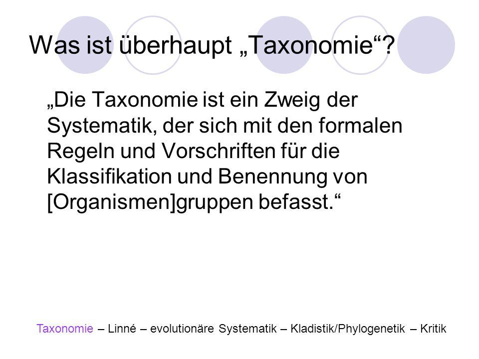 Was ist überhaupt Taxonomie? Die Taxonomie ist ein Zweig der Systematik, der sich mit den formalen Regeln und Vorschriften für die Klassifikation und