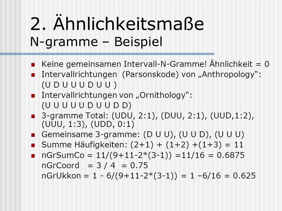 2. Ähnlichkeitsmaße N-gramme - Definition N-gramme sind (Teil-)Strings der Länge N.