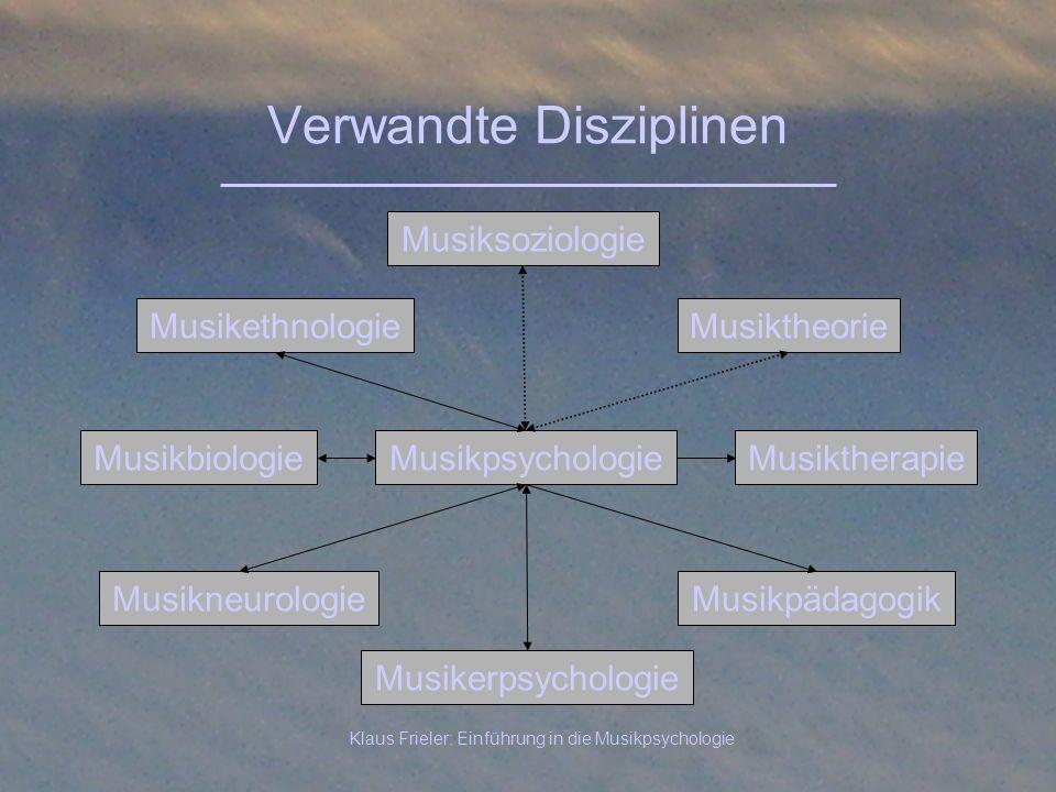 Klaus Frieler: Einführung in die Musikpsychologie Verwandte Disziplinen Musikpsychologie Musiksoziologie Musikpädagogik Musiktheorie MusikbiologieMusi
