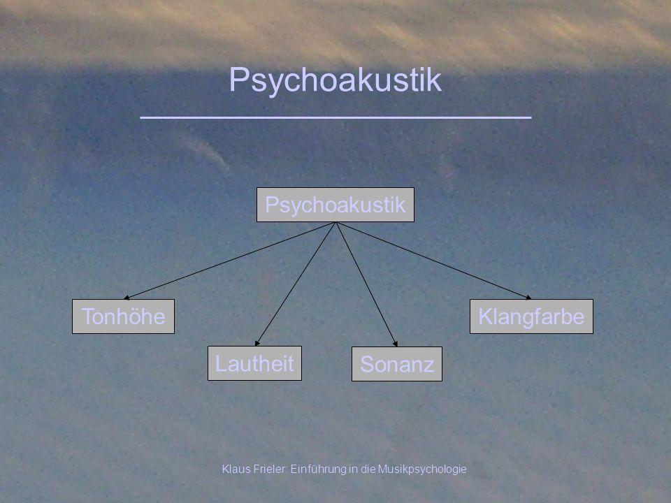 Klaus Frieler: Einführung in die Musikpsychologie Psychoakustik Tonhöhe Lautheit Klangfarbe Sonanz