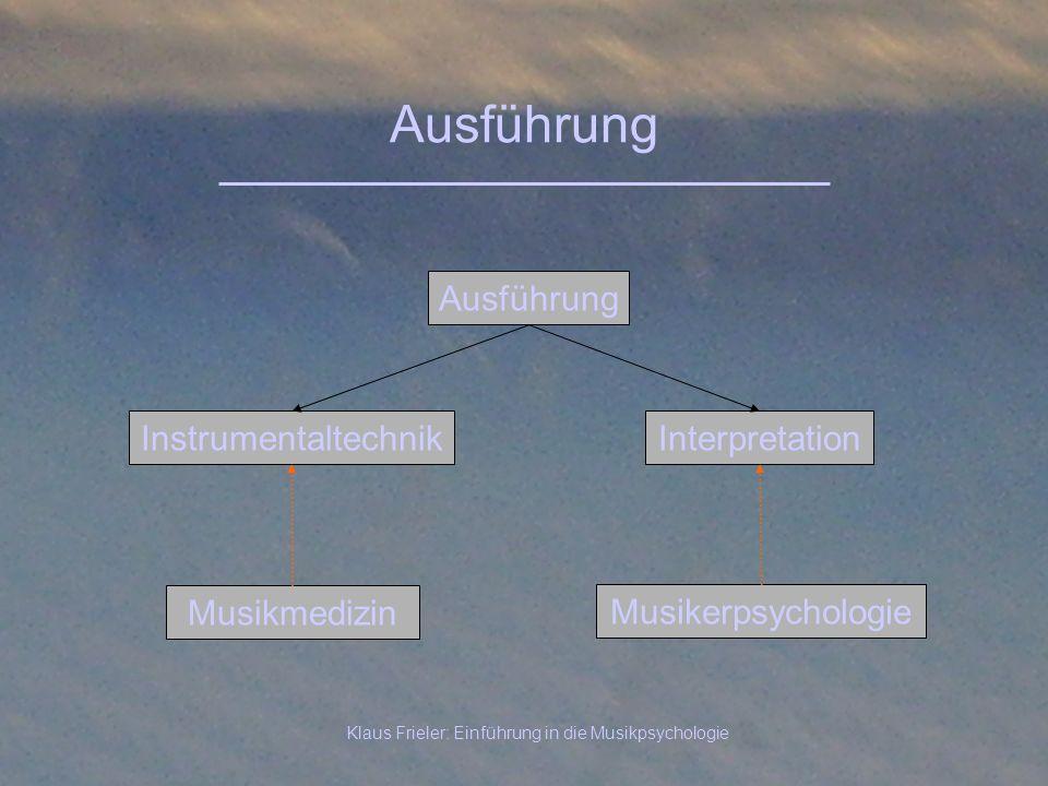 Klaus Frieler: Einführung in die Musikpsychologie Ausführung InterpretationInstrumentaltechnik Ausführung Musikerpsychologie Musikmedizin