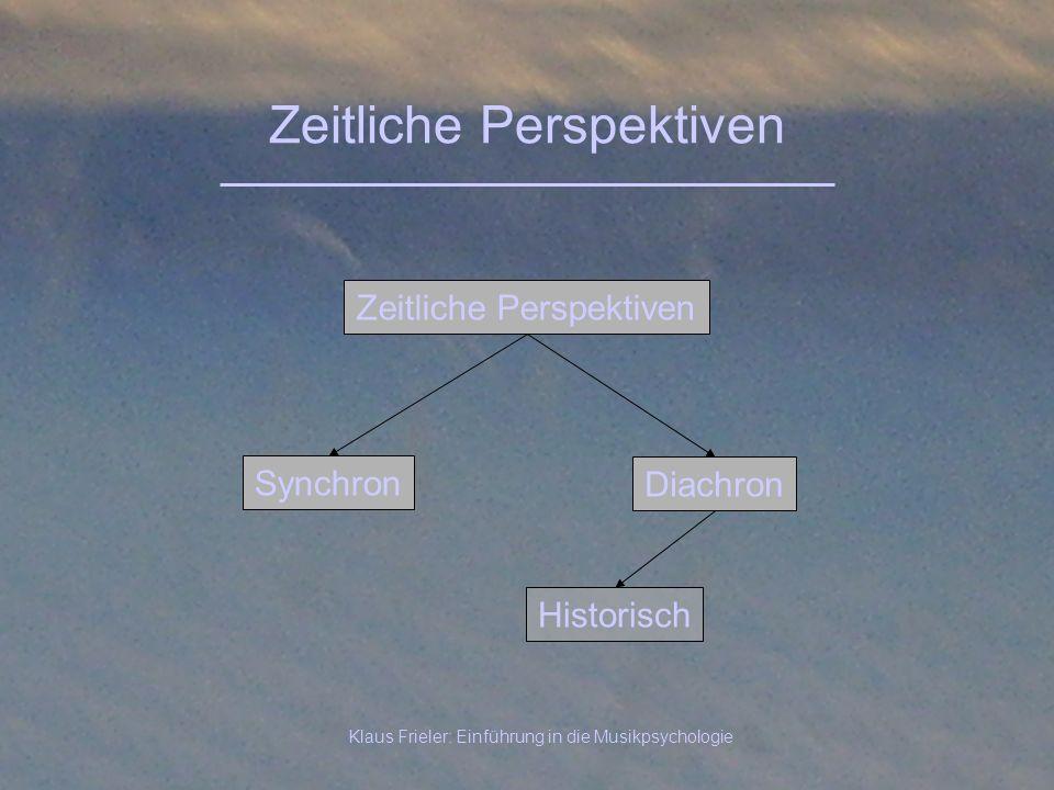 Klaus Frieler: Einführung in die Musikpsychologie Zeitliche Perspektiven Synchron Zeitliche Perspektiven Diachron Historisch