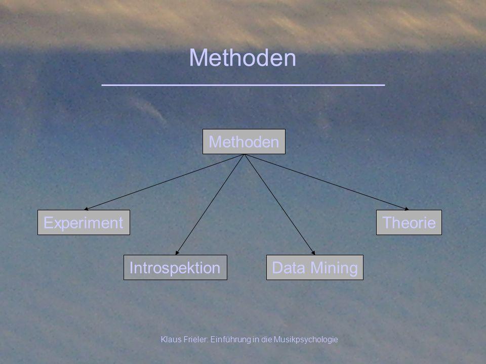 Klaus Frieler: Einführung in die Musikpsychologie Methoden Experiment Methoden Theorie IntrospektionData Mining
