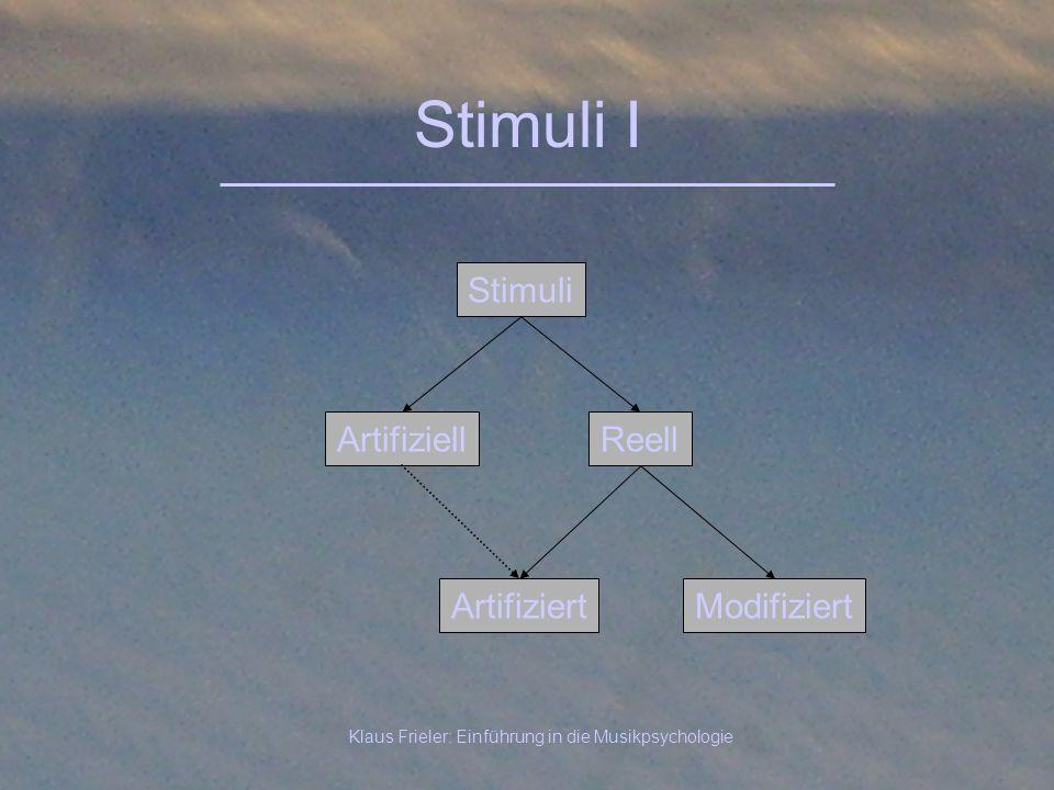 Klaus Frieler: Einführung in die Musikpsychologie Stimuli I Artifiziell Stimuli Reell ArtifiziertModifiziert