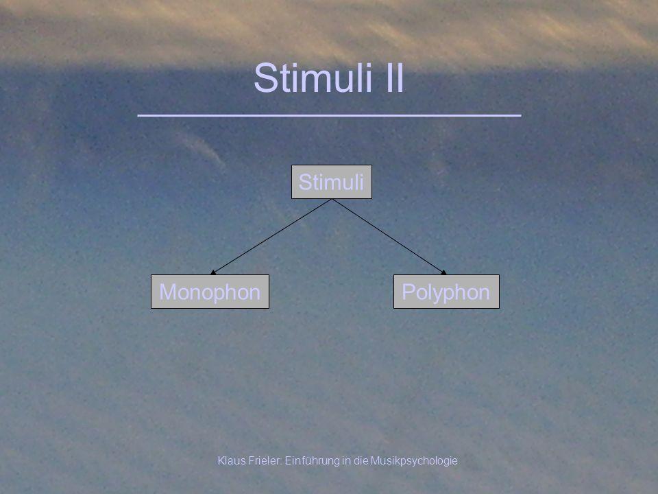 Klaus Frieler: Einführung in die Musikpsychologie Stimuli II Stimuli PolyphonMonophon