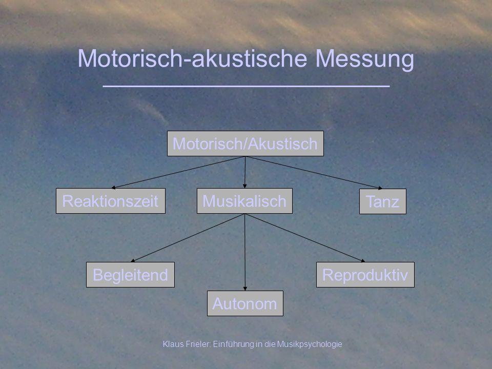 Klaus Frieler: Einführung in die Musikpsychologie Motorisch-akustische Messung Reaktionszeit Motorisch/Akustisch Musikalisch Autonom Reproduktiv Tanz