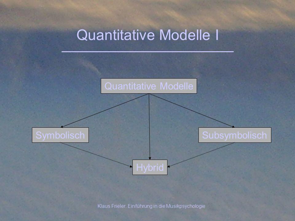 Klaus Frieler: Einführung in die Musikpsychologie Quantitative Modelle I Symbolisch Quantitative Modelle Subsymbolisch Hybrid