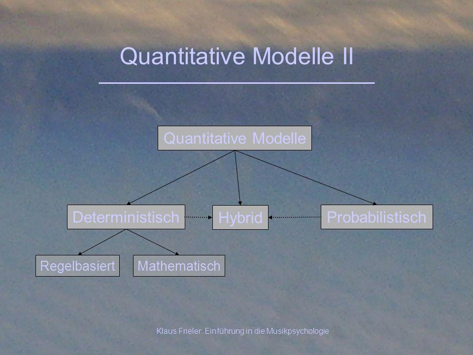Klaus Frieler: Einführung in die Musikpsychologie Quantitative Modelle II Deterministisch Quantitative Modelle Probabilistisch Hybrid RegelbasiertMath
