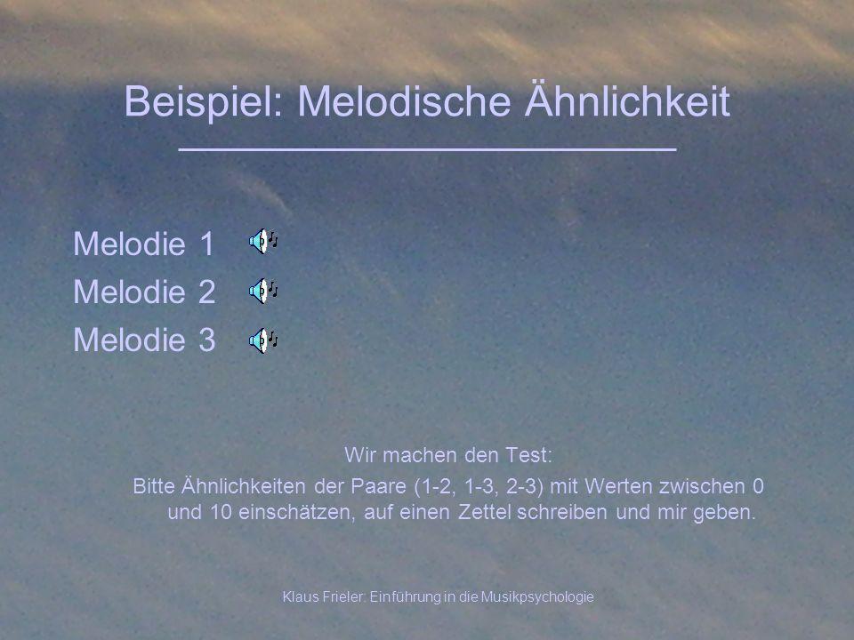 Klaus Frieler: Einführung in die Musikpsychologie Beispiel: Melodische Ähnlichkeit Melodie 1 Melodie 2 Melodie 3 Wir machen den Test: Bitte Ähnlichkei