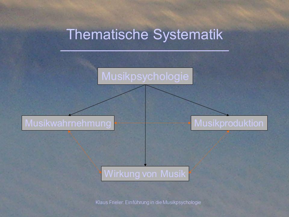 Klaus Frieler: Einführung in die Musikpsychologie Thematische Systematik Musikpsychologie MusikwahrnehmungMusikproduktion Wirkung von Musik