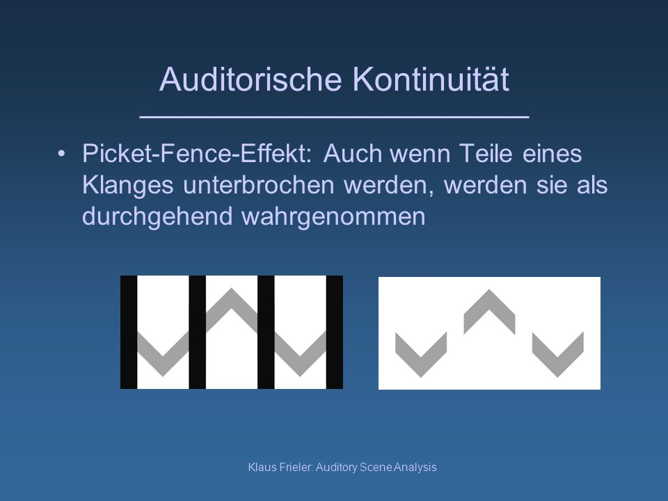 Klaus Frieler: Auditory Scene Analysis Einsatzsynchronizität Spektralteile, die zu gleicher Zeit erscheinen stammen wahrscheinlich von einer einzigen Schallquelle: Sie werden eher einem einzigen Ereignis zugeordnet Kubovy (1976) schaltete in einen 8-tönigen Akkord Komponenten aus und an: Wahrnehmung einer Melodie