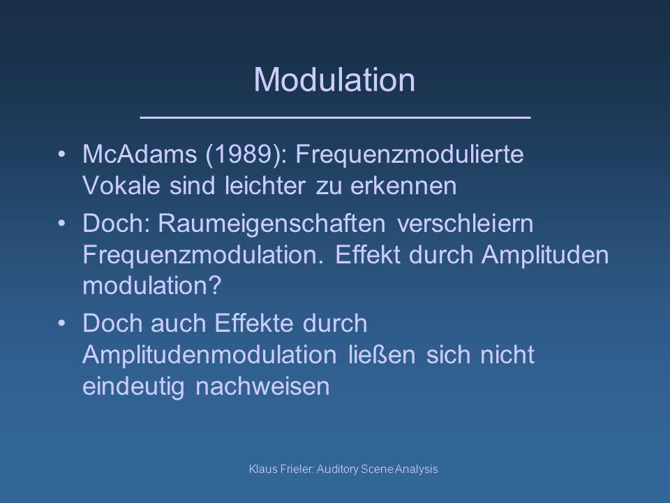 Klaus Frieler: Auditory Scene Analysis Auditorische Kontinuität Miller und Licklider (1950) : The watchdog gave a warning growl