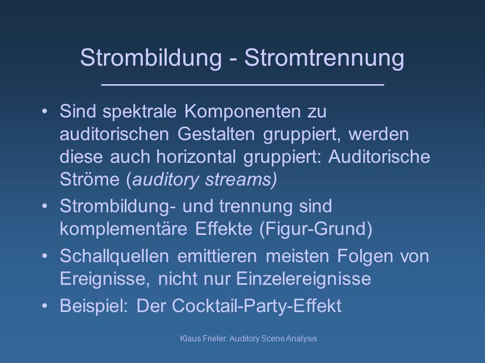 Klaus Frieler: Auditory Scene Analysis Horizontale Integration Erkennen Sie die Melodie.