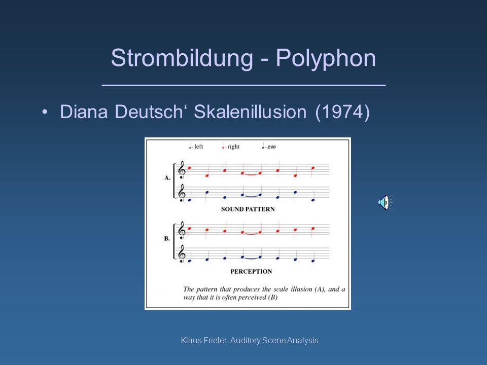 Klaus Frieler: Auditory Scene Analysis Strombildung - Polyphon In einer polyphonen Umgebung werden einzelne auditorische Ereignisse verschiedenen Strömen zugeordnet, z.
