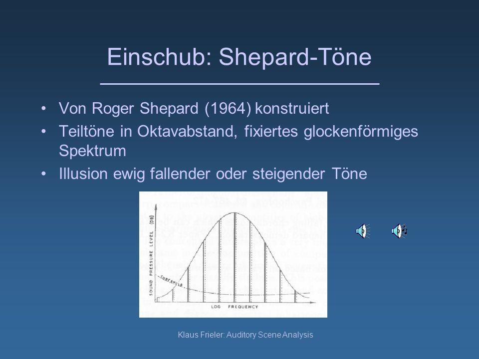 Klaus Frieler: Auditory Scene Analysis Strombildung - Polyphon Emergente melodische Muster wurden in der Musikpraxis ausgenutzt Beispiele: –Amadinda Musik aus Uganda –Minimal Music (Steve Reich etc.) –Tschaikowski 6.