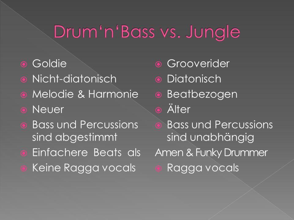 Goldie Nicht-diatonisch Melodie & Harmonie Neuer Bass und Percussions sind abgestimmt Einfachere Beats als Keine Ragga vocals Grooverider Diatonisch Beatbezogen Älter Bass und Percussions sind unabhängig Amen & Funky Drummer Ragga vocals