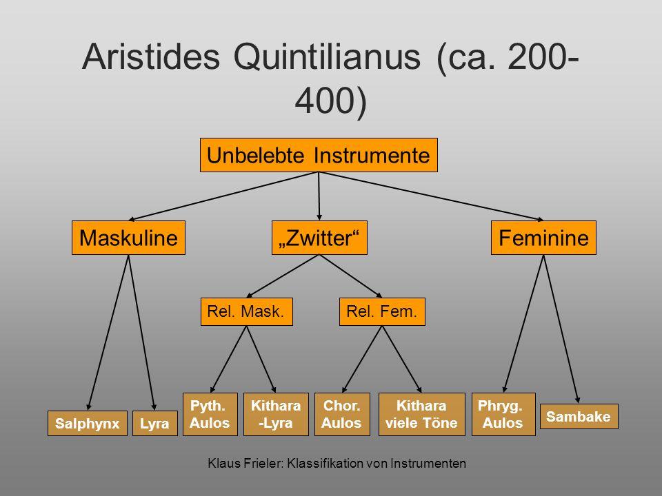 Klaus Frieler: Klassifikation von Instrumenten Aristides Quintilianus (ca. 200- 400) Unbelebte Instrumente MaskulineFeminineZwitter Rel. Mask.Rel. Fem