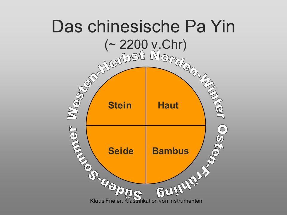 Klaus Frieler: Klassifikation von Instrumenten Das chinesische Pa Yin (~ 2200 v.Chr) Stein Haut Metall Kürbis Lehm Bambus Seide Holz Muskelkraft Geblasene Rhythmische