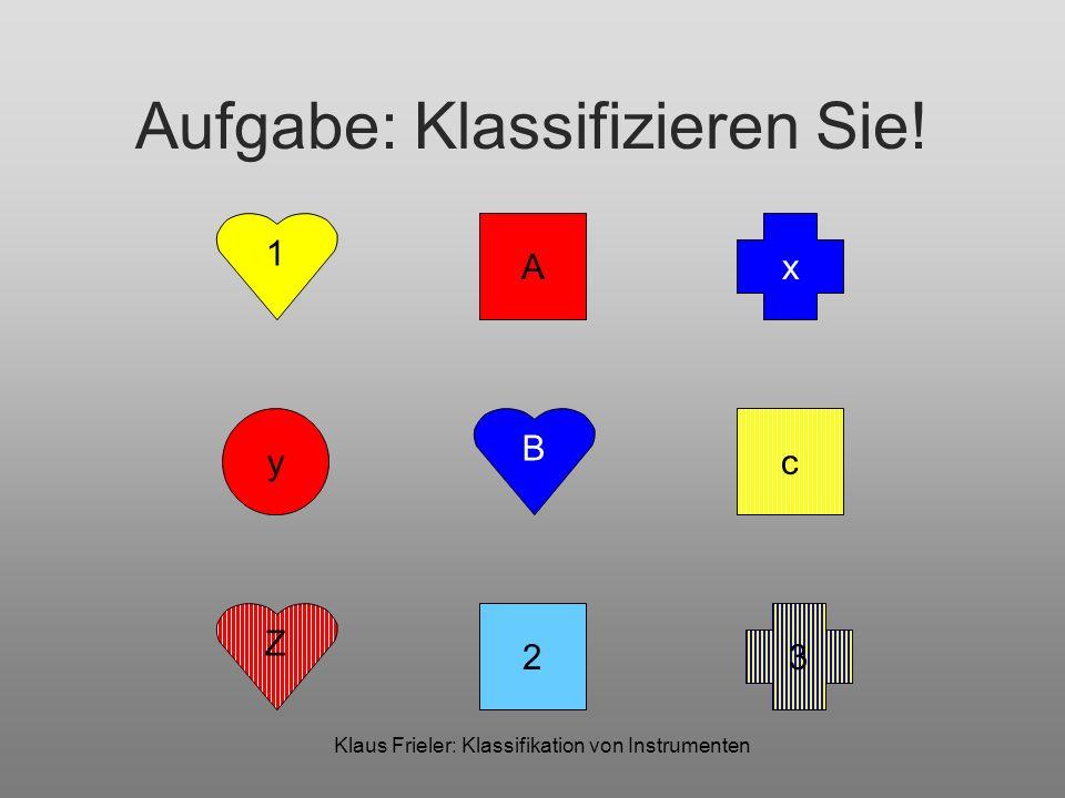 Klaus Frieler: Klassifikation von Instrumenten Klassifikation: Features LabelFarbeFormLabeltypMuster 1GelbHerzZifferNicht-gestreift 2HellblauQuadratZifferNicht-gestreift 3Gelb-BlauKreuzZifferGestreift ARotQuadratBuchstabe (groß, ABC)Nicht-gestreift BBlauHerzBuchstabe (groß, ABC)Nicht-gestreift cGelbQuadratBuchstabe (klein, ABC)Gestreift xBlauKreuzBuchstabe (klein, XYZ)Nicht-gestreift yRotKreisBuchstabe (klein, XYZ)Nicht-gestreift ZRotHerzBuchstabe (groß, XYZ)Gestreift