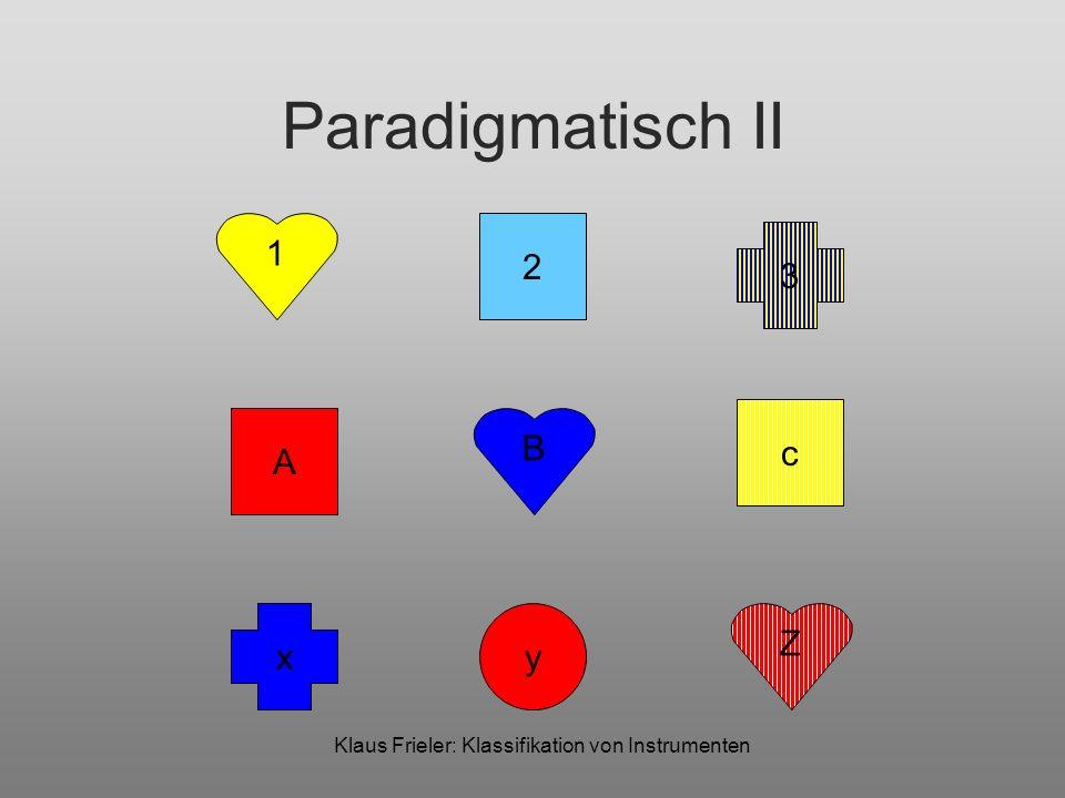 Klaus Frieler: Klassifikation von Instrumenten Paradigmatisch II 1 B Z 2 A x 3 c y