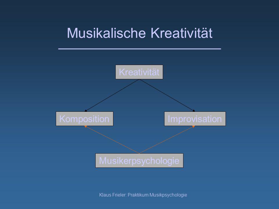 Klaus Frieler: Praktikum Musikpsychologie Musikalische Kreativität Komposition Kreativität Improvisation Musikerpsychologie