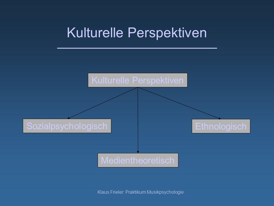 Klaus Frieler: Praktikum Musikpsychologie Kulturelle Perspektiven Sozialpsychologisch Kulturelle Perspektiven Ethnologisch Medientheoretisch