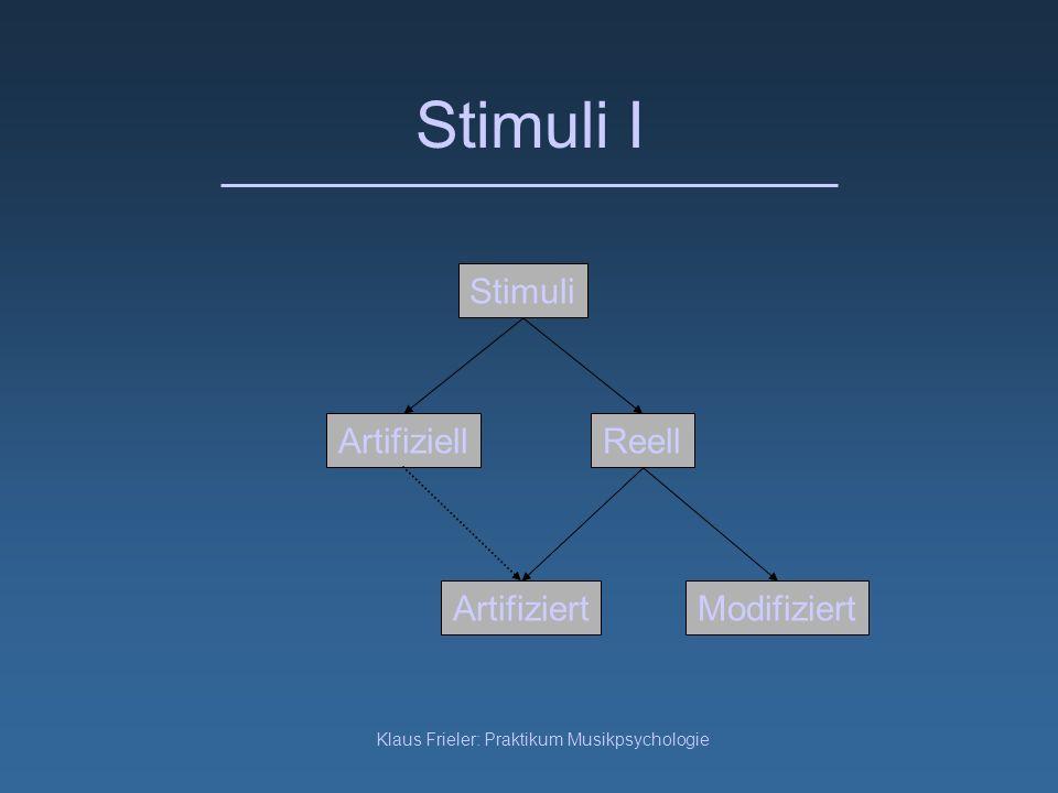 Klaus Frieler: Praktikum Musikpsychologie Stimuli I Artifiziell Stimuli Reell ArtifiziertModifiziert