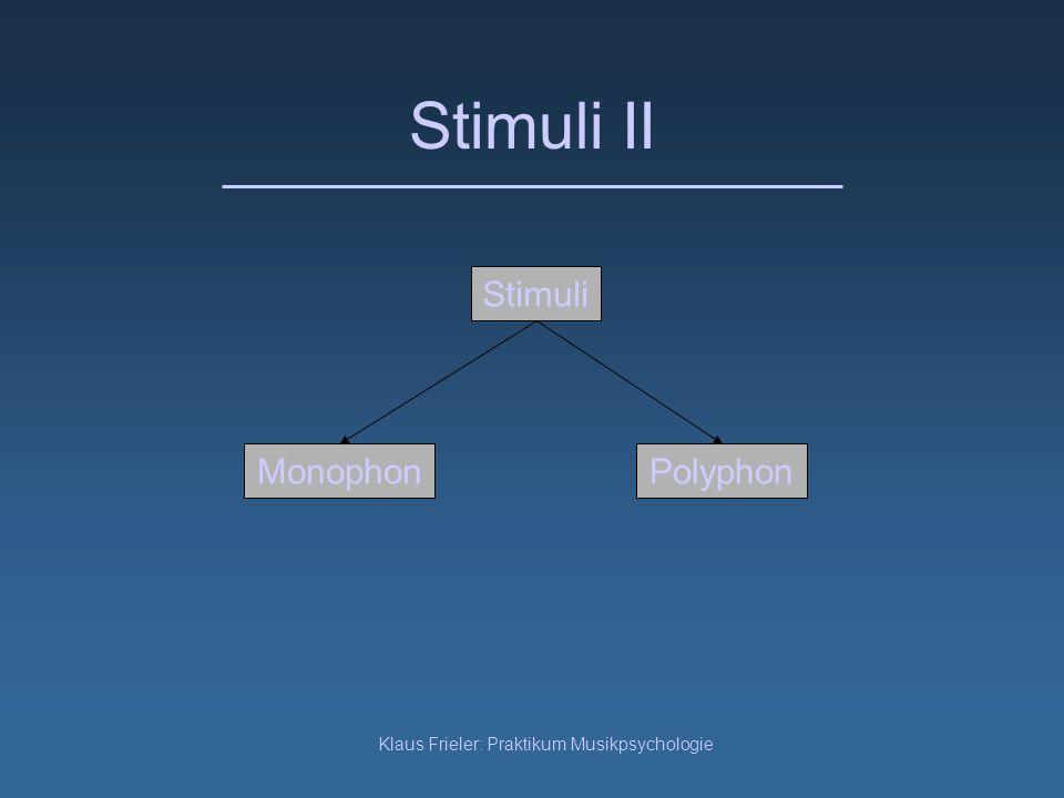 Klaus Frieler: Praktikum Musikpsychologie Stimuli II Stimuli PolyphonMonophon