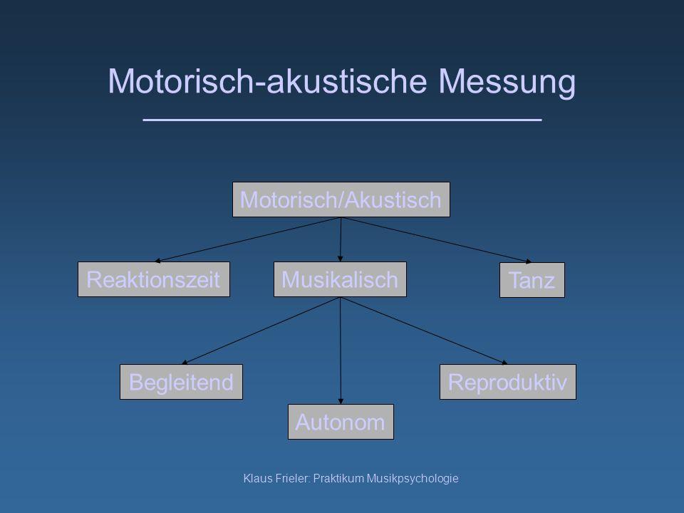 Klaus Frieler: Praktikum Musikpsychologie Motorisch-akustische Messung Reaktionszeit Motorisch/Akustisch Musikalisch Autonom Reproduktiv Tanz Begleite