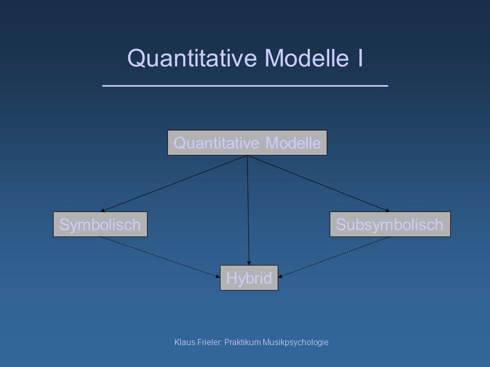 Klaus Frieler: Praktikum Musikpsychologie Quantitative Modelle I Symbolisch Quantitative Modelle Subsymbolisch Hybrid