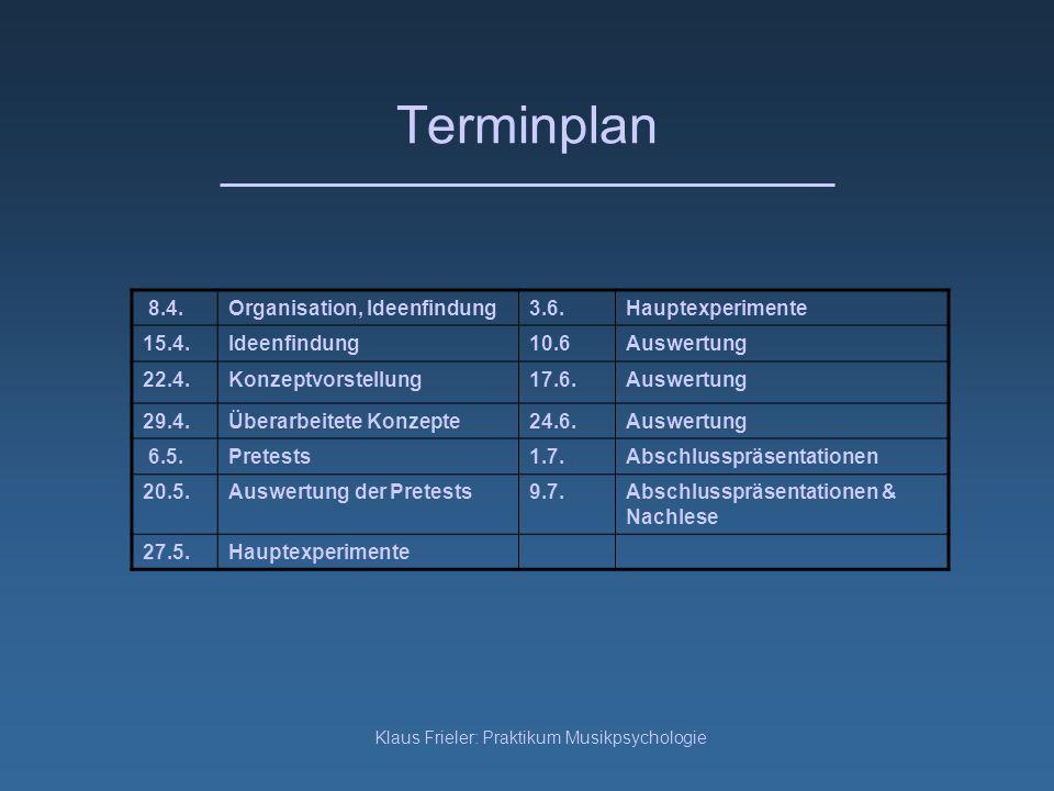 Klaus Frieler: Praktikum Musikpsychologie Terminplan 8.4.Organisation, Ideenfindung3.6.Hauptexperimente 15.4.Ideenfindung10.6Auswertung 22.4.Konzeptvo