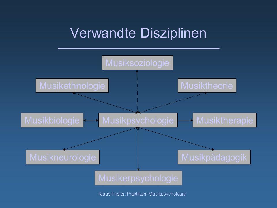 Klaus Frieler: Praktikum Musikpsychologie Verwandte Disziplinen Musikpsychologie Musiksoziologie Musikpädagogik Musiktheorie MusikbiologieMusiktherapi