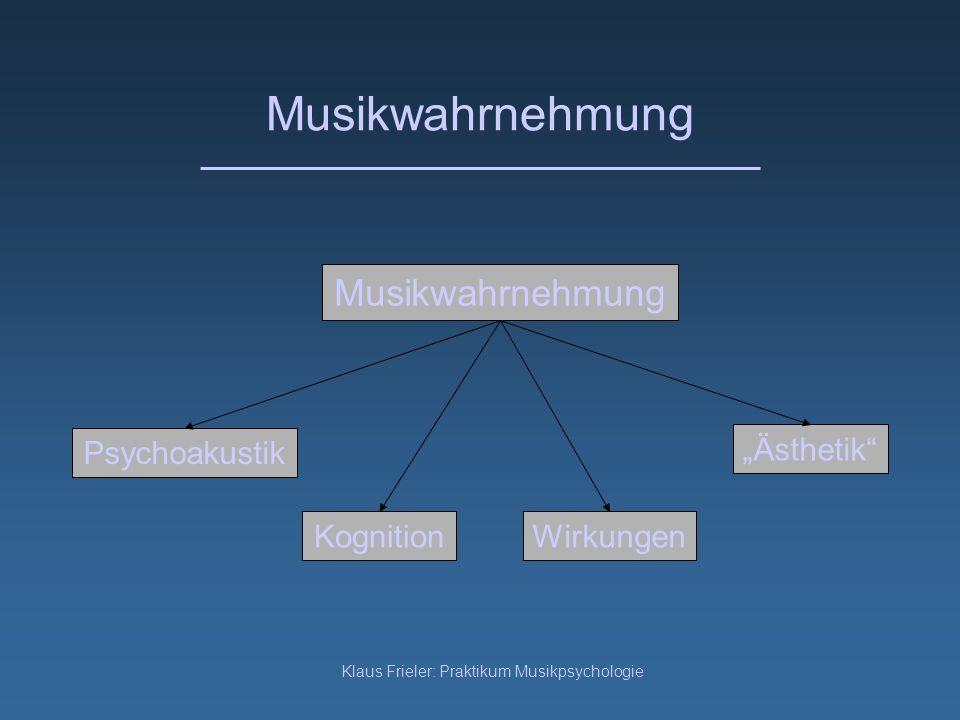 Klaus Frieler: Praktikum Musikpsychologie Musikwahrnehmung Psychoakustik KognitionWirkungen Ästhetik