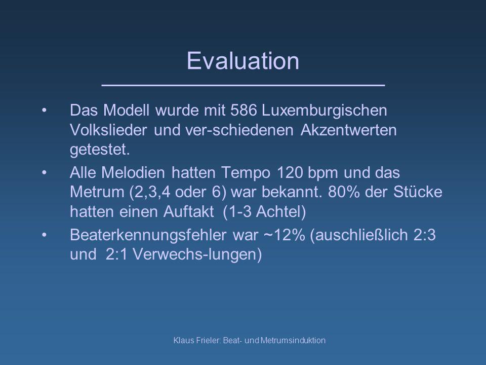 Klaus Frieler: Beat- und Metrumsinduktion Evaluation Das Modell wurde mit 586 Luxemburgischen Volkslieder und ver-schiedenen Akzentwerten getestet.