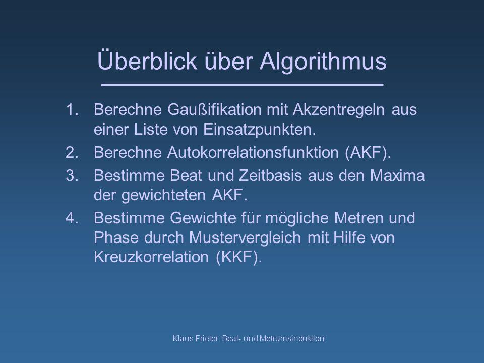 Klaus Frieler: Beat- und Metrumsinduktion Überblick über Algorithmus 1.Berechne Gaußifikation mit Akzentregeln aus einer Liste von Einsatzpunkten.