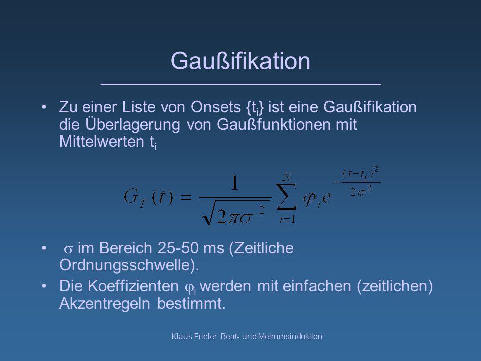 Klaus Frieler: Beat- und Metrumsinduktion Gaußifikation Zu einer Liste von Onsets {t i } ist eine Gaußifikation die Überlagerung von Gaußfunktionen mit Mittelwerten t i im Bereich 25-50 ms (Zeitliche Ordnungsschwelle).